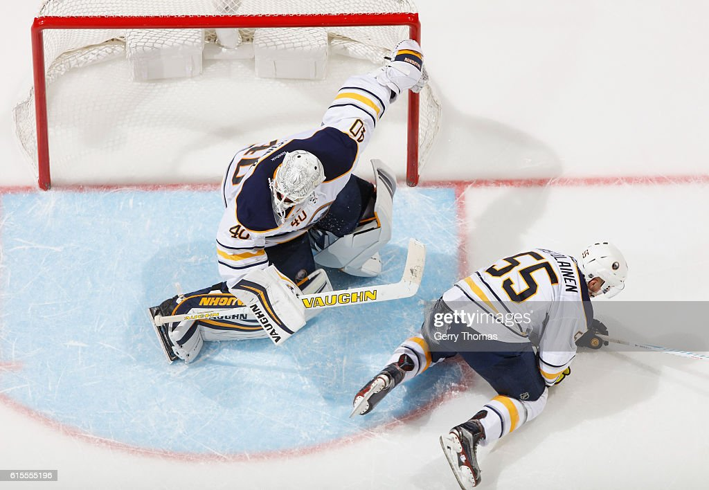 Robin Lehner #40 of the Buffalo Sabres makes a save against the Calgary Flames at Scotiabank Saddledome on October 18, 2016 in Calgary, Alberta, Canada.