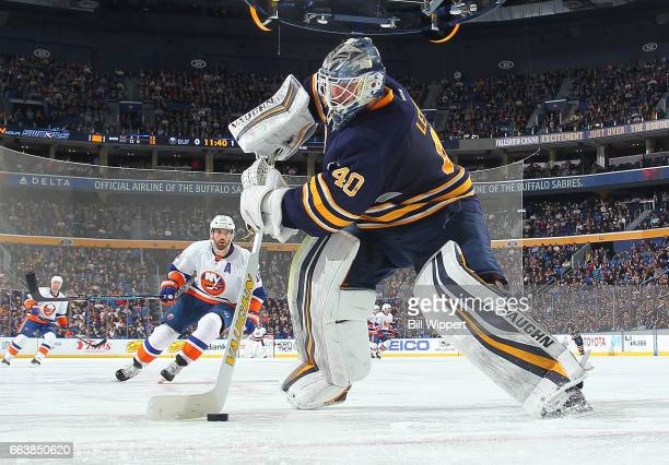 Robin Lehner of the Buffalo Sabres plays the puck during an NHL game against the New York Islanders at the KeyBank Center on April 2 2017 in Buffalo...