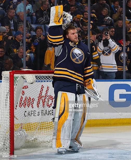 Robin Lehner of the Buffalo Sabres prepares to tend goal against the Boston Bruins in an NHL game on January 15 2016 at the First Niagara Center in...