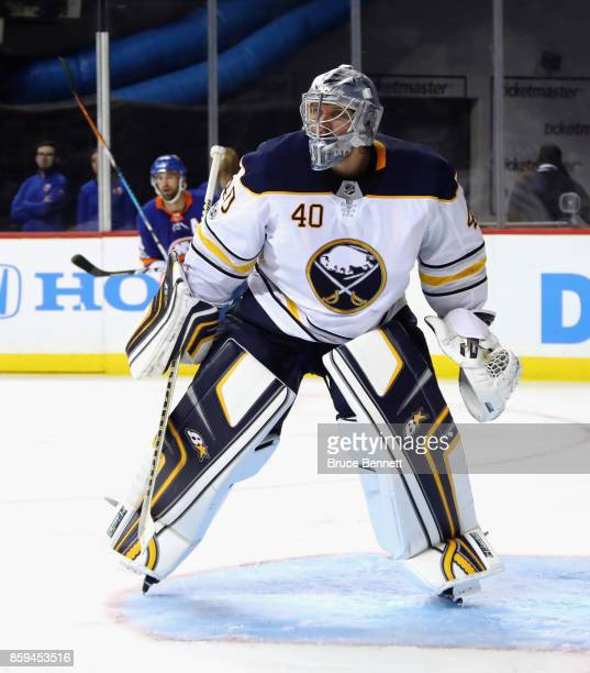 Robin Lehner of the Buffalo Sabres skates against the New York Islanders at the Barclays Center on October 7 2017 in the Brooklyn borough of New York...