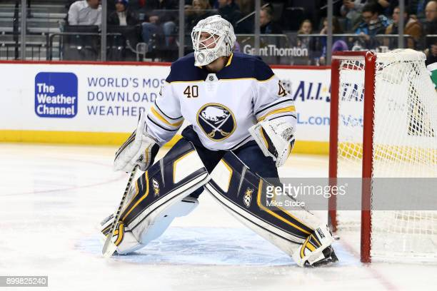 Robin Lehner of the Buffalo Sabres skates against the New York Islanders at Barclays Center on December 27 2017 in New York City New York Islanders...