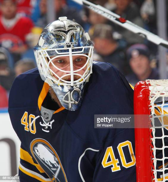 Robin Lehner of the Buffalo Sabres tends goal during an NHL game against the Montreal Canadiens at KeyBank Center on April 5 2017 in Buffalo New York