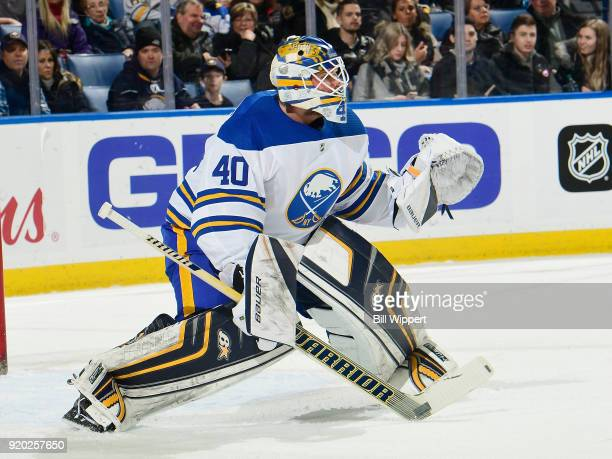 Robin Lehner of the Buffalo Sabres tends goal during an NHL game against the New York Islanders on February 8 2018 at KeyBank Center in Buffalo New...