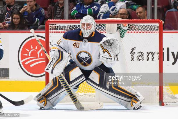 Robin Lehner of the Buffalo Sabres tracks the puck during their NHL game against the Vancouver Canucks at Rogers Arena on January 25 2018 in...
