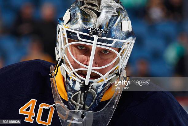 Robin Lehner of the Buffalo Sabres warms up to play the Boston Bruins at First Niagara Center on January 15 2016 in Buffalo New York