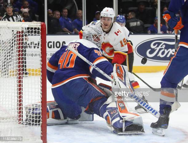 Robin Lehner of the New York Islanders makes the first period save on h19 at NYCB Live's Nassau Coliseum on February 26 2019 in Uniondale New York