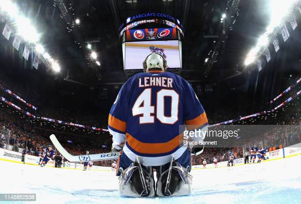 Robin Lehner of the New York Islanders prepares to play against the Carolina Hurricanes in Game Two of the Eastern Conference Second Round during the...