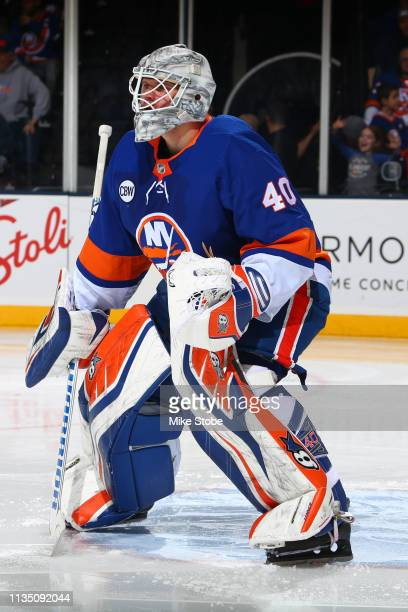 Robin Lehner of the New York Islanders skates against the Buffalo Sabres at NYCB Live's Nassau Coliseum on March 30 2019 in Uniondale New York