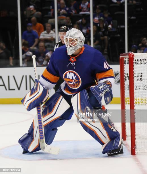 Robin Lehner of the New York Islanders skates against the Philadelphia Flyers during a preseason game at the Nassau Veterans Memorial Coliseum on...