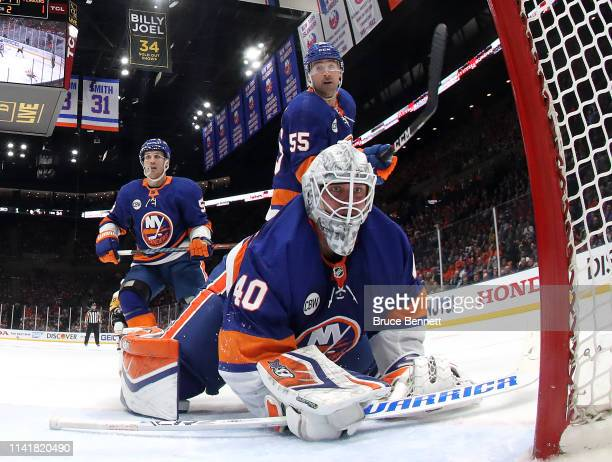 Robin Lehner of the New York Islanders tends net against the Pittsburgh Penguins in Game One of the Eastern Conference First Round during the 2019...