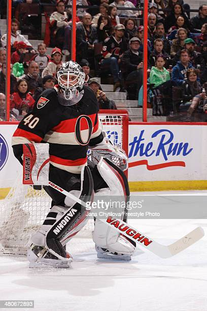 Robin Lehner of the Ottawa Senators follows the play against the Colorado Avalanche during an NHL game at Canadian Tire Centre on March 16 2014 in...