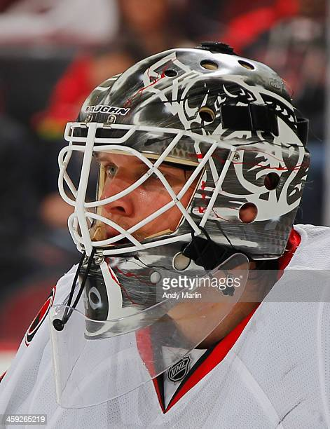 Robin Lehner of the Ottawa Senators looks on against the New Jersey Devils during the game at the Prudential Center on December 18 2013 in Newark New...