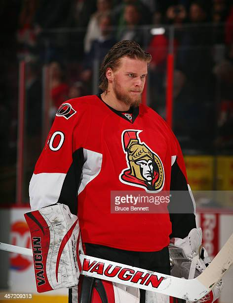 Robin Lehner of the Ottawa Senators stands at attention during the national anthem prior to the game against the St Louis Blues at the Canadian Tire...
