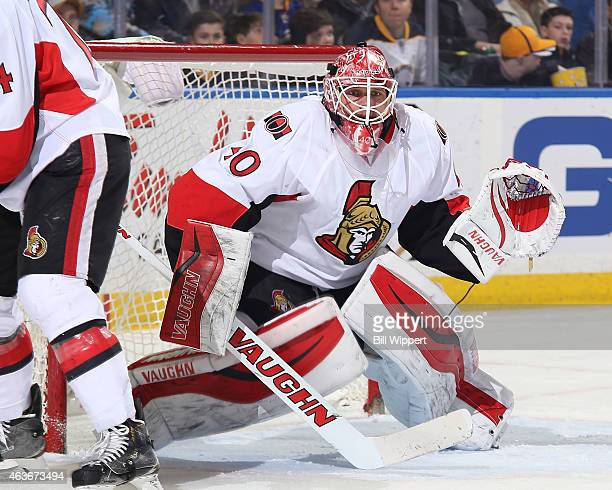 Robin Lehner of the Ottawa Senators tends goal against the Buffalo Sabres on February 10 2015 at the First Niagara Center in Buffalo New York