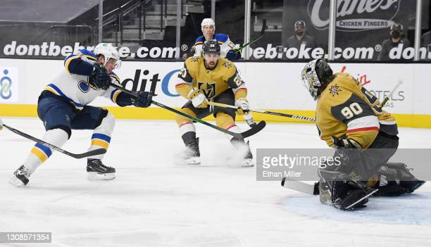 Robin Lehner of the Vegas Golden Knights blocks a shot by Vladimir Tarasenko of the St. Louis Blues in the third period of their game at T-Mobile...