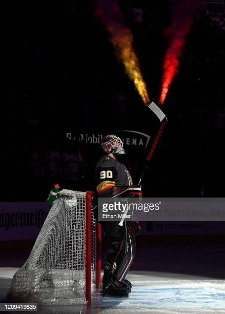 Robin Lehner of the Vegas Golden Knights is introduced before playing his first game for the Golden Knights against the Buffalo Sabres at TMobile...