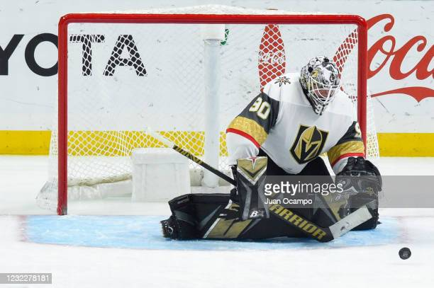 Robin Lehner of the Vegas Golden Knights protects the goal during the third period against the Los Angeles Kings at STAPLES Center on April 12, 2021...