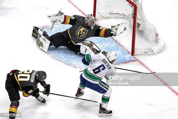Robin Lehner of the Vegas Golden Knights stops a shot by Brock Boeser of the Vancouver Canucks during the second period in Game Seven of the Western...