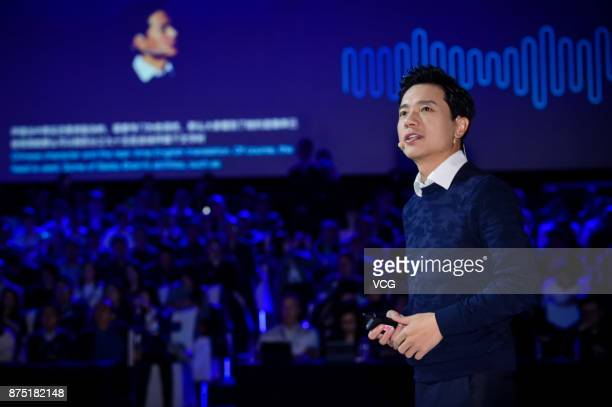 Robin Li Chairman and Chief Executive Officer of Baidu Inc speaks during 2017 Baidu World Technology Conference at China World Summit Wing on...