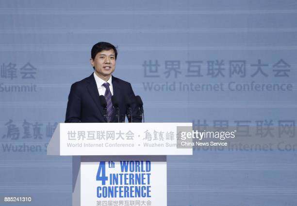 Robin Li Chairman and Chief Executive Officer of Baidu Inc speaks during opening ceremony of the 4th World Internet Conference on December 3 2017 in...