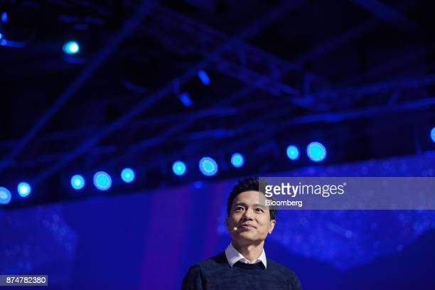 Robin Li cofounder chairman and chief executive officer of Baidu Inc speaks at the Baidu World Technology Conference in Beijing China on Thursday Nov...