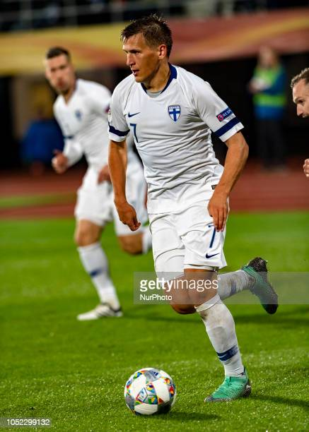 Robin Lod of Finland controls the ball during the UEFA Nations League group stage football match Finland v Grece in Tampere Finland on October 15 2018