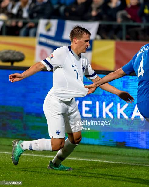Robin Lod of Finland during the UEFA Nations League group stage football match Finland v Grece in Tampere Finland on October 15 2018