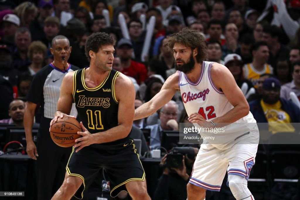 Robin Lopez (42) of Chicago Bulls in action against his twin brother Brook Lopez (11) of Los Angeles Lakers during an NBA game between Chicago Bulls and Los Angeles Lakers at United Center on January 26, 2018 in Chicago, United States.