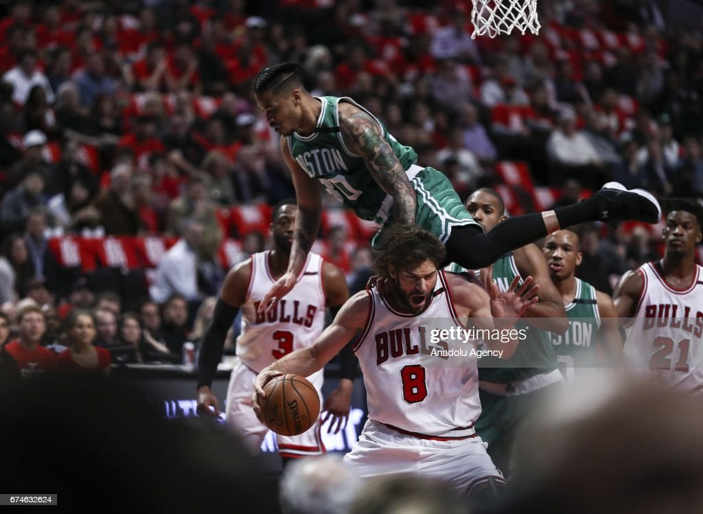Robin Lopez (8) of Chicago Bulls in action during the 2017 NBA Playoffs between Boston Celtics and Chicago Bulls at the United Center on April 28, 2017 in Chicago, Illinois, United States. The Celtics defeated the Bulls 105-83.