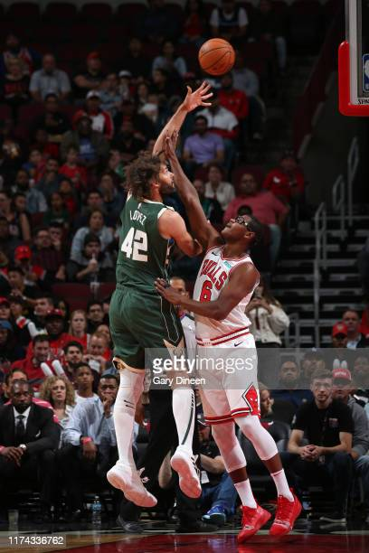 Robin Lopez of Milwaukee Bucks shoots the ball against the Chicago Bulls on October 7 2019 at the United Center in Chicago Illinois NOTE TO USER User...