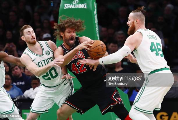 Robin Lopez of the Chicago Bulls battles for the ball with Gordon Hayward and Aron Baynes of the Boston Celtics during the first half at TD Garden on...