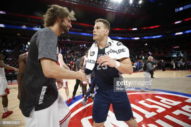 Robin Lopez of the Chicago Bulls hugs Blake Griffin of the Detroit Pistons after the game between the two teams on MARCH 9 2018 at Little Caesars...