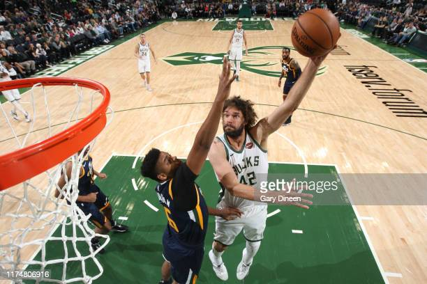 Robin Lopez of the Milwaukee Bucks shoots the ball against the Utah Jazz on October 9 2019 at the Fiserv Forum Center in Milwaukee Wisconsin NOTE TO...