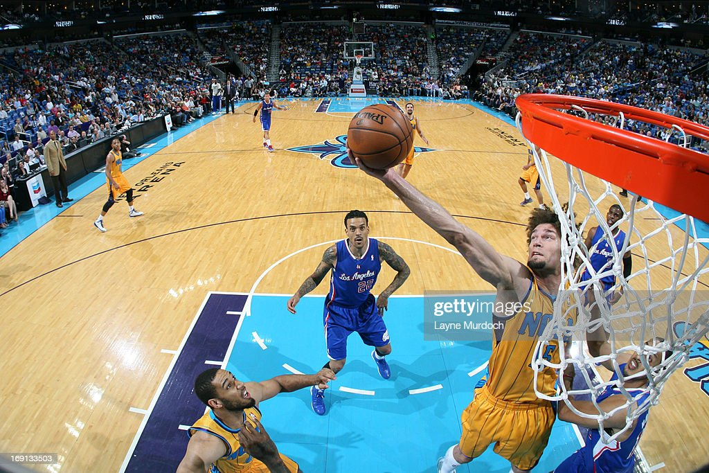 Robin Lopez #15 of the New Orleans Hornets grabs a rebound against the Los Angeles Clippers on April 12, 2013 at the New Orleans Arena in New Orleans, Louisiana.