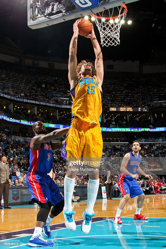 Robin Lopez #15 of the New Orleans Hornets rises for a dunk against the Detroit Pistons on March 1, 2013 at the New Orleans Arena in New Orleans, Louisiana.