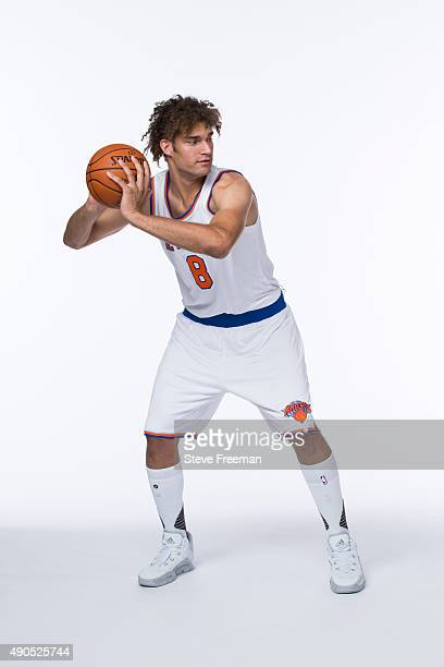Robin Lopez of the New York Knicks poses for a portrait at Media Day at the MSG Training Facility in Greenburgh New York on September 28 2015 NOTE TO...