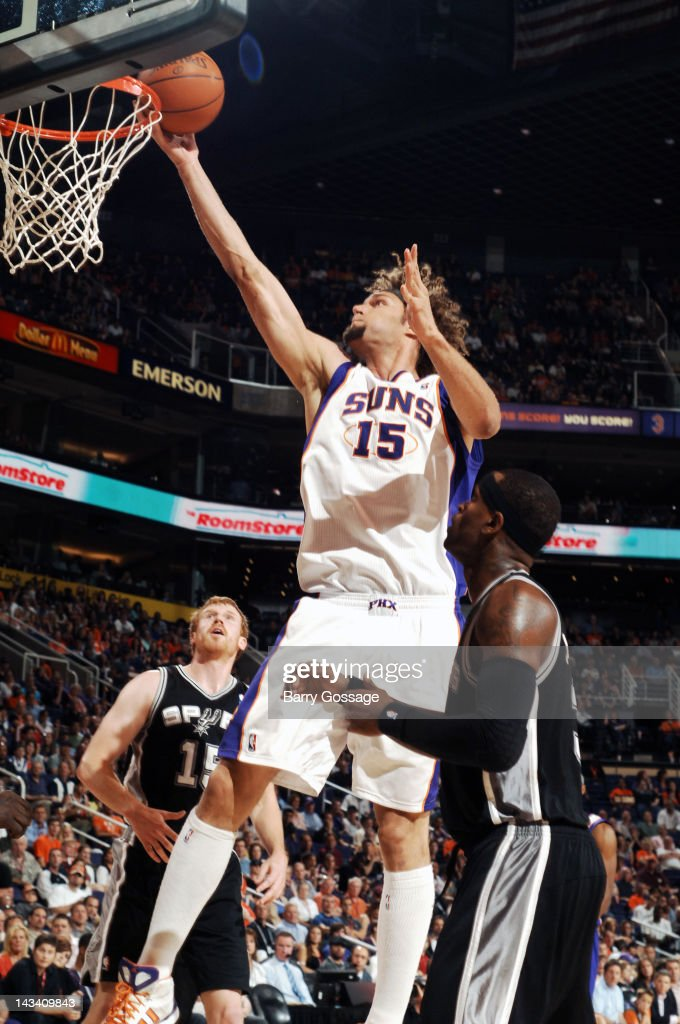 Robin Lopez #15 of the Phoenix Suns puts a shot in against the San Antonio Spurs on April 25, 2012 at U.S. Airways Center in Phoenix, Arizona.