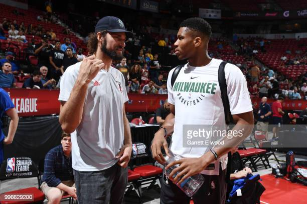 Robin Lopez of the the Chicago Bulls and Giannis Antetokounmpo of the the Milwaukee Bucks enjoy the game during the 2018 Las Vegas Summer League on...