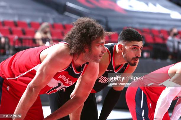 Robin Lopez of the Washington Wizards and Enes Kanter of the Portland Trail Blazers looks on during the game on February 20, 2021 at the Moda Center...