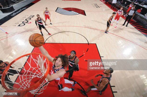 Robin Lopez of the Washington Wizards drives to the basket during the game against the Portland Trail Blazers on February 20, 2021 at the Moda Center...