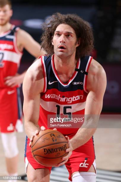 Robin Lopez of the Washington Wizards looks on during the game against the Portland Trail Blazers on February 20, 2021 at the Moda Center Arena in...