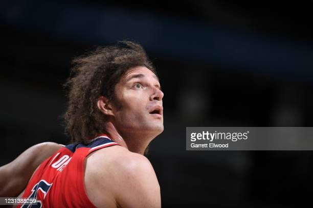 Robin Lopez of the Washington Wizards looks on during the game against the Denver Nuggets on February 25, 2021 at the Ball Arena in Denver, Colorado....
