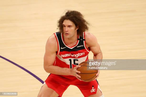 Robin Lopez of the Washington Wizards looks to pass the ball against the Los Angeles Lakers during the third quarter at Staples Center on February...