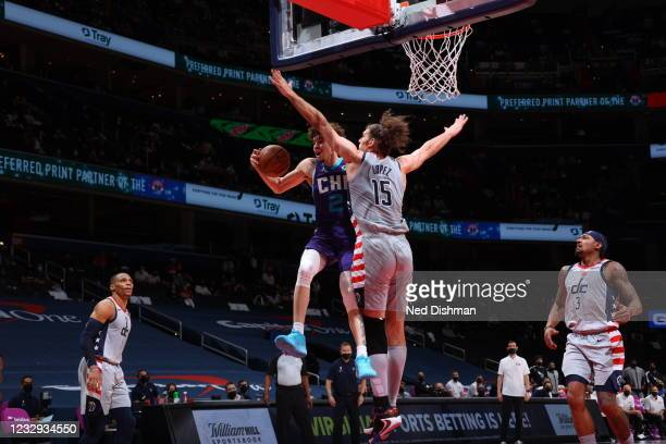 Robin Lopez of the Washington Wizards plays defense during the game against LaMelo Ball of the Charlotte Hornets on May 16, 2021 at Capital One Arena...