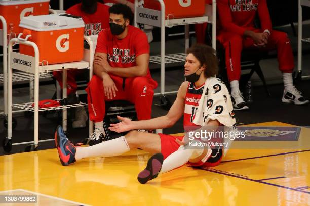 Robin Lopez of the Washington Wizards reacts to a play during the first quarter against the Los Angeles Lakers at Staples Center on February 22, 2021...