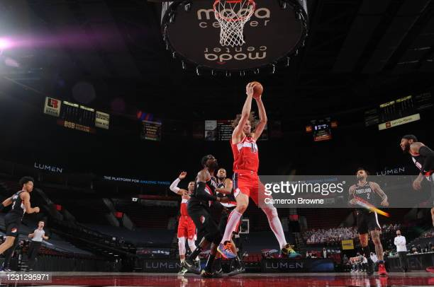 Robin Lopez of the Washington Wizards rebounds the ball during the game against the Portland Trail Blazers on February 20, 2021 at the Moda Center...