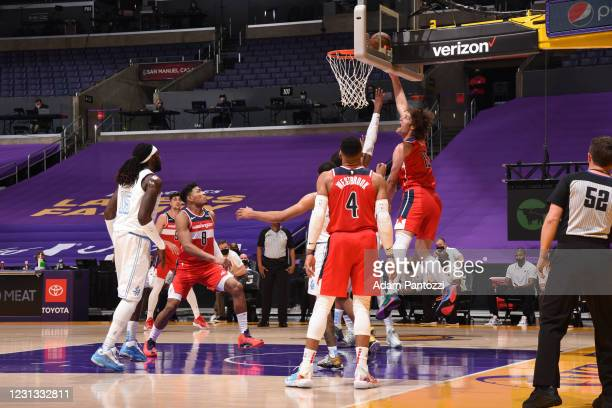 Robin Lopez of the Washington Wizards shoots the ball against the Los Angeles Lakers on February 22, 2021 at STAPLES Center in Los Angeles,...