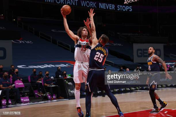 Robin Lopez of the Washington Wizards shoots the ball during the game against the Denver Nuggets on February 17, 2021 at Capital One Arena in...