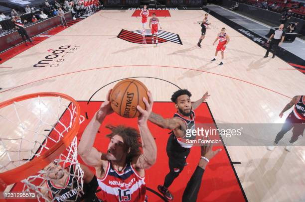 Robin Lopez of the Washington Wizards shoots the ball during the game against the Portland Trail Blazers on February 20, 2021 at the Moda Center...