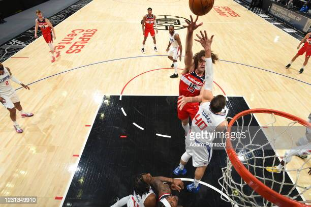 Robin Lopez of the Washington Wizards shoots the ball during the game against the LA Clippers on February 23, 2021 at STAPLES Center in Los Angeles,...